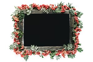 Floral frame made of rowan