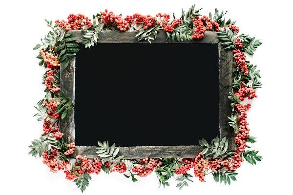 Floral frame made of rowan