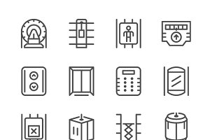 Set line icons of elevator