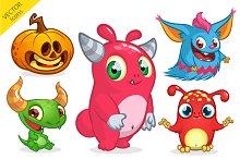 Halloween monsters. Vector pack
