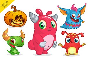 Halloween monsters. Vector pack
