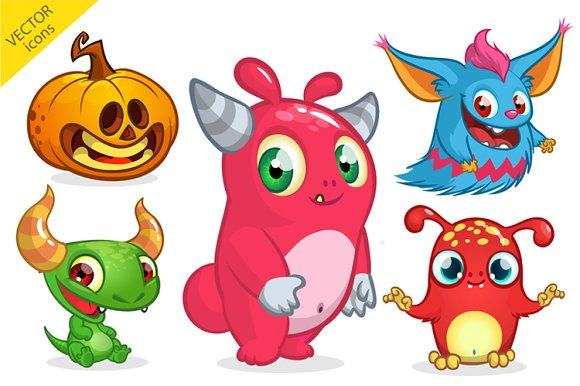 Halloween monsters. Vector pack ~ Illustrations ~ Creative Market