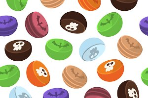 Halloween seamless pattern sweets