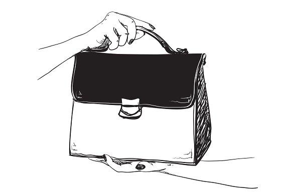 Handbag in the hand. Fashion. - Illustrations