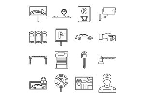 Car parking icons set, outline style