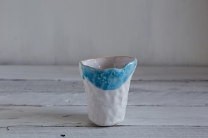 blue and white hand-made glass