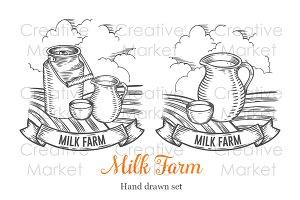 Milk farm hand drawn set