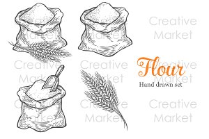 Flour & Wheat hand drawn set