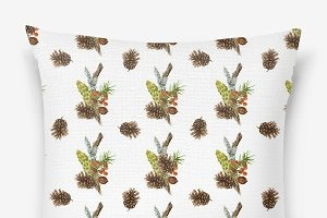 Seamless pattern with forest element
