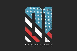 Vector American flag number tee