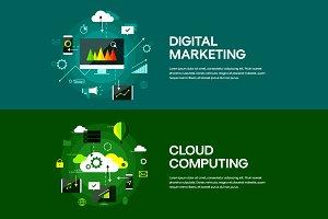 Cloud computing and marketing vector