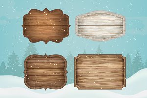 Wooden signs. Christmas decoration