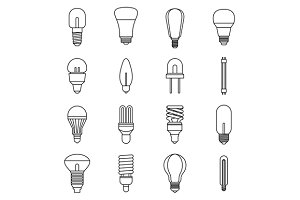 Light bulb icons set, outline style