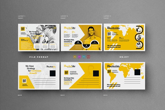 Postcard card templates on creative market for Indesign postcard template 4x6