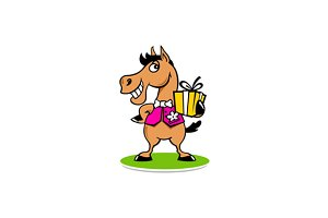 Merry horse with a gift