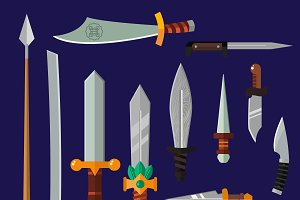 Knifes weapon collection vector