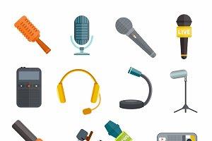 Different microphones types vector