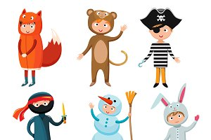 Kids different costumes vector