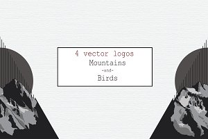 4 Vector Logos Mountains and Birds
