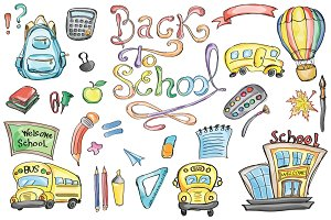 Back to School Set Clipart & Vector