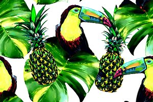Toucans,leaves,pineapples pattern