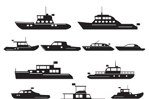 Set  icons of motor yachts