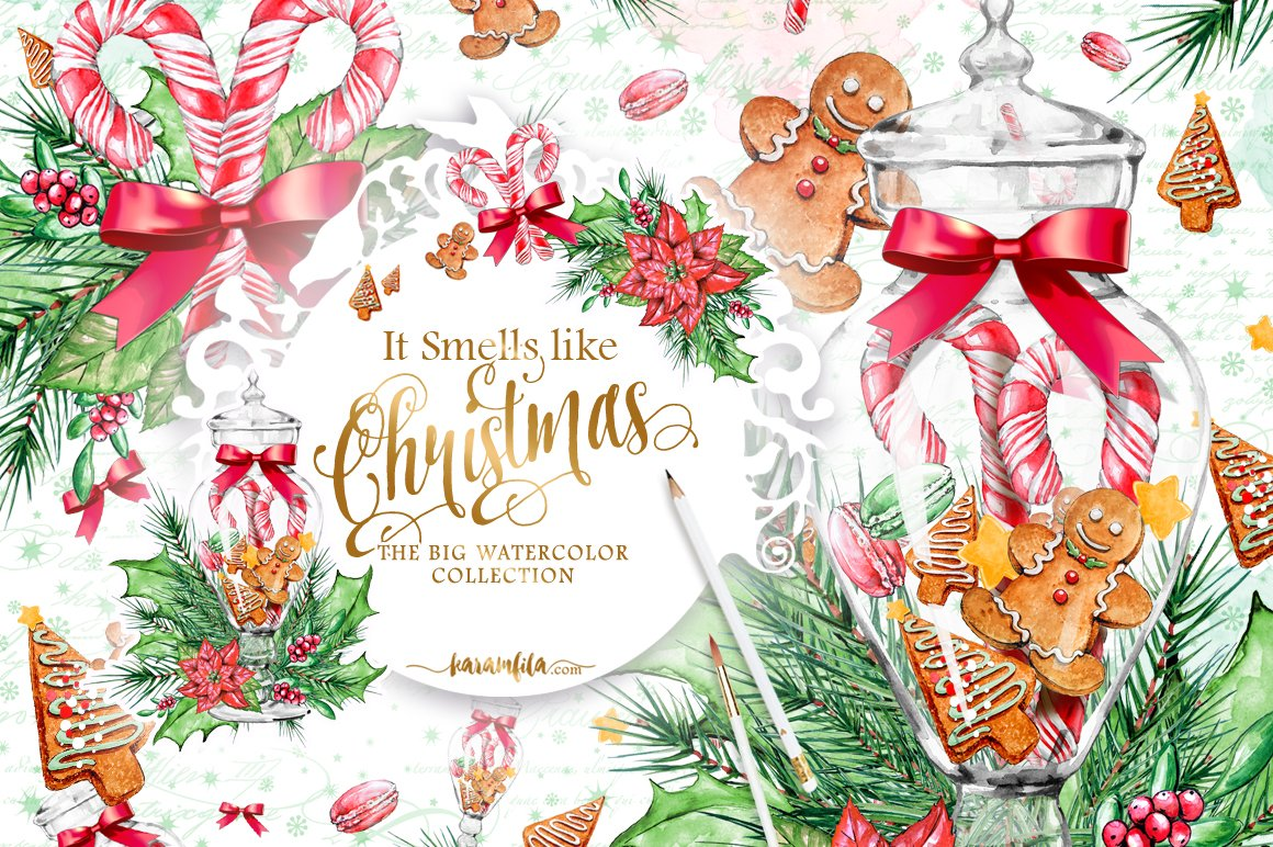 Traditional Christmas Clipart Illustrations Creative Market