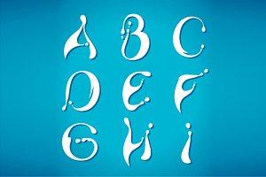 Water milky alphabet
