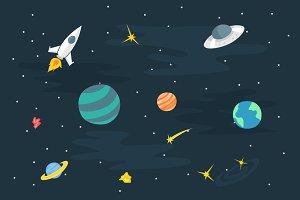 Flat Doodle Art : Sky Planet