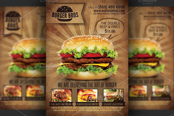 Burger Promotion Flyer Template Flyer Templates on Creative Market – Promotional Flyer Template