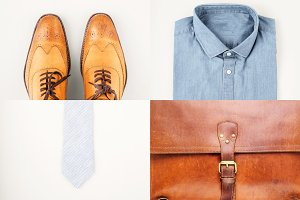 Mens fashionan set - shoes, shirt, briefcase and neck tie