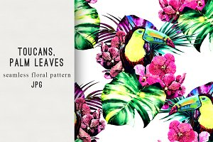 Toucans,jungle leaves pattern