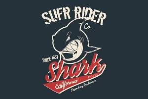Shark tee print vector design