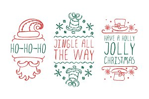 Handdrawn christmas badges