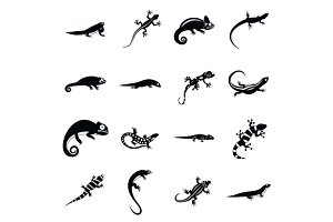 Lizard icons set, simple style