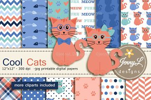 Cat Digital Papers & Cliparts