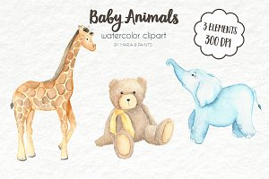 Watercolor Clip Art - Baby Animals