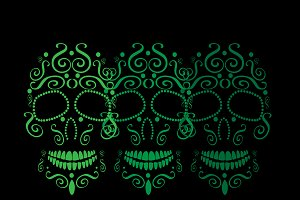 Skull icon ornament neon color