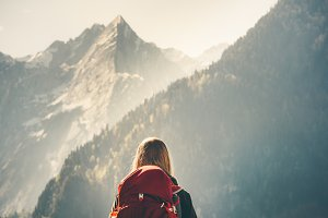 Backpacker enjoying mountains view