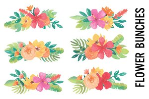 Watercolor Tropical Flower Bouquets