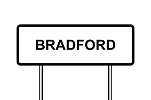 UK town sign illustration, Bradford