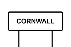 UK town sign illustration, Cornwall