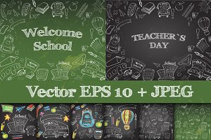 School supplies Set Clipart & Vector