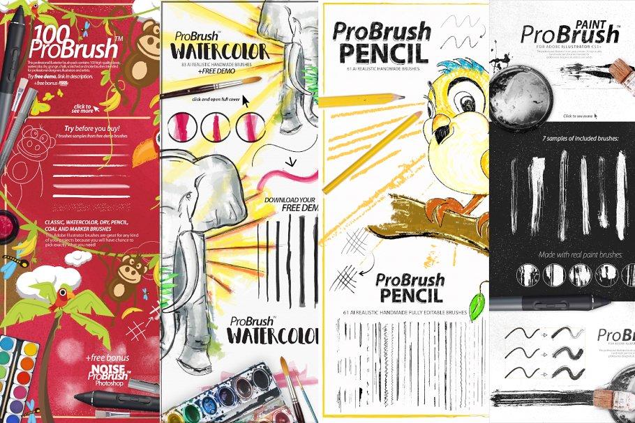 300+ Illustrator Brushes ~ Illustrator Add-Ons ~ Creative Market