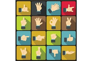 Hand gesture icons set, flat ctyle