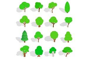 Tree icons set, isometric 3d style