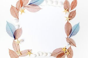 Autumn transparent leaves frame on white background. Flat lay. Top view