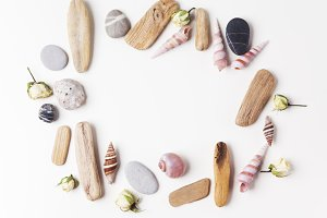 Background with seashells and wooden sticks making a frame for any text. Top view