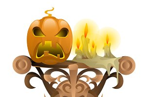 Symbol for Halloween: candle pumpkin