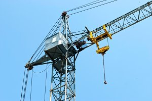 high tower crane with a cabin
